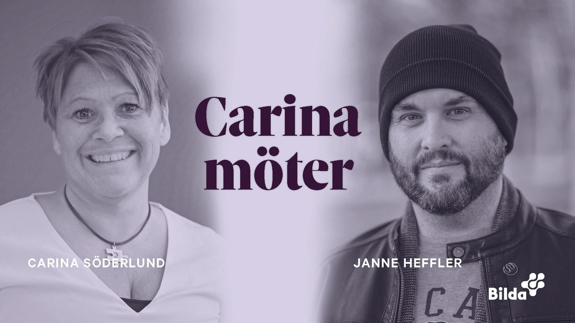 Carina möter Janne Heffler under temat psykisk ohälsa, live via Facebook.